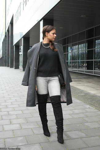 How to wear: charcoal coat, black cable sweater, grey skinny jeans, black suede over the knee boots