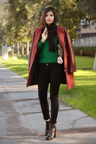 How to wear: burgundy coat, green cable sweater, black skinny jeans, black leather ankle boots