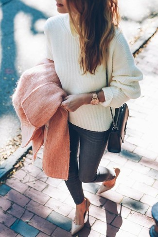 How to wear: pink coat, white cable sweater, charcoal skinny jeans, beige leather pumps