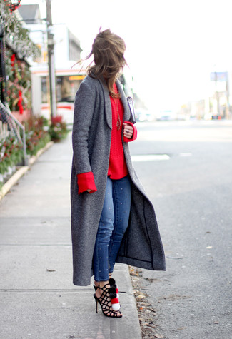 Marry a Sam Edelman Wool Coat With Removable Faux Fur Collar with blue skinny jeans to show you've got serious styling prowess. Why not add black suede gladiator sandals to the mix for a more relaxed feel? The comfort and simplicity of this combination takes care of the heat and helps you make a stylish statement wherever you go.