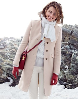 How to wear: beige coat, grey cable sweater, white skinny jeans, red leather crossbody bag