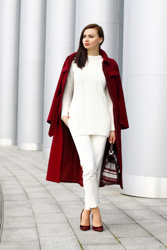 Wear a dark red coat with white skinny pants for a seriously stylish look. For the maximum chicness make burgundy suede pumps your footwear choice.