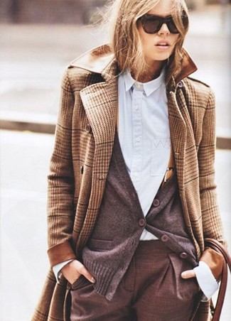 How to Wear a Dark Brown Cardigan (30 looks) | Women's Fashion