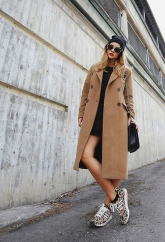 Opt for a brown coat and a black casual dress for a glam and trendy getup. For something more on the daring side to complete this getup, throw in a pair of tan leopard running sneakers. An ensemble like this makes it easy to embrace the colder months.
