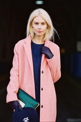 Dress in a pink coat and a navy silk casual dress to effortlessly deal with whatever this day throws at you.