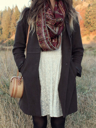How to wear: charcoal coat, white floral lace casual dress, tan straw crossbody bag, burgundy print scarf