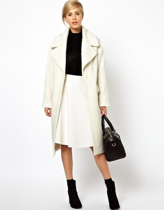 How to wear: white fluffy coat, black cowl-neck sweater, white a-line skirt, black suede ankle boots