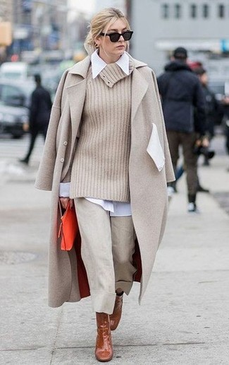 How to wear: beige coat, beige cowl-neck sweater, white dress shirt, beige culottes
