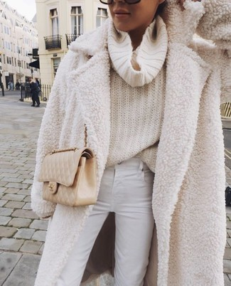 This combo of a beige boucle coat and Givenchy women's 57mm Sunglasses will add a graceful essence to your outfit. An ensemble like this is perfect for in-between weather.
