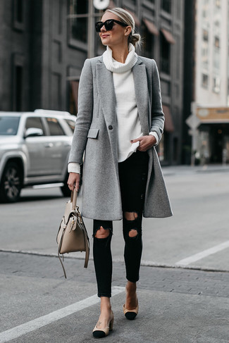 How to wear: grey coat, white cowl-neck sweater, black ripped skinny jeans, black and tan suede pumps