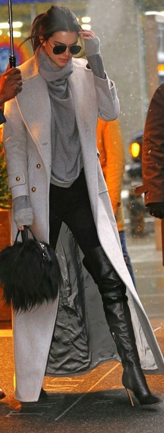 Kendall Jenner wearing Grey Coat, Grey Cowl-neck Sweater, Black Skinny Pants, Black Leather Over The Knee Boots