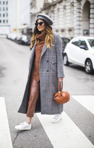 How to wear: grey plaid coat, tobacco cowl-neck sweater, brown leather skinny pants, white leather low top sneakers