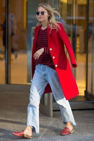 How to wear: red coat, red and black horizontal striped crew-neck sweater, light blue boyfriend jeans, red leather loafers