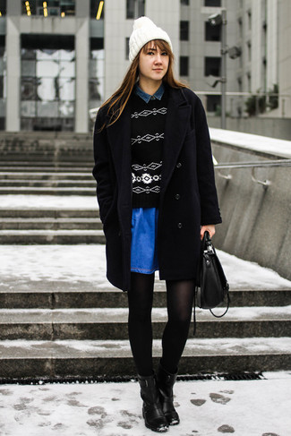 How to wear: black coat, black and white geometric crew-neck sweater, navy denim shirt, blue denim skater skirt