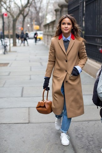 How to wear: camel coat, charcoal crew-neck sweater, light blue dress shirt, blue boyfriend jeans