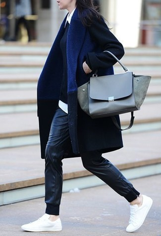 How to wear: navy coat, black crew-neck sweater, white dress shirt, black leather sweatpants