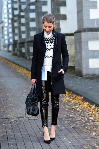 How to wear: black coat, white and black fair isle crew-neck sweater, white dress shirt, black leather skinny pants