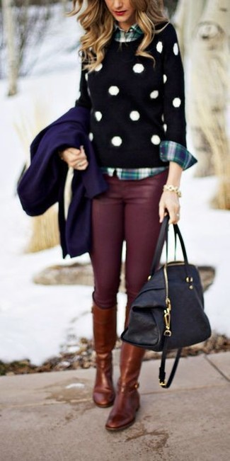 Women's Navy Coat, Black and White Polka Dot Crew-neck Sweater, Navy and Green Plaid Dress Shirt, Burgundy Skinny Jeans