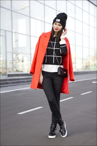Wear a red coat and black skinny jeans for a refined yet off-duty ensemble. Make black leather high top sneakers your footwear choice for a more relaxed aesthetic.