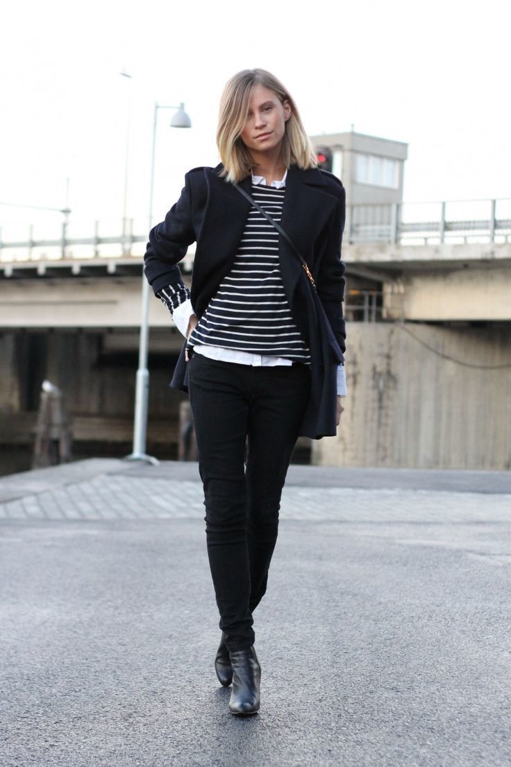 Women's Black Coat, Black and White Horizontal Striped Crew-neck ...