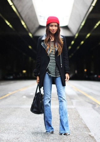 How to wear: black coat, black and white horizontal striped crew-neck sweater, light blue flare jeans, black leather tote bag