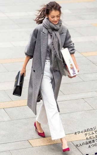 How to wear: grey coat, grey crew-neck sweater, white flare jeans, red suede pumps