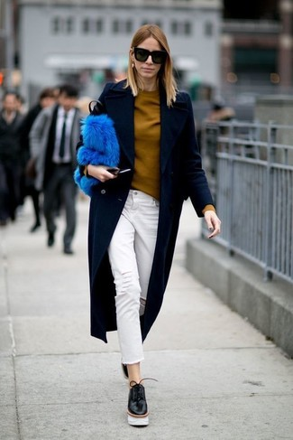 How to wear: navy coat, mustard crew-neck sweater, white ripped jeans, black chunky leather oxford shoes