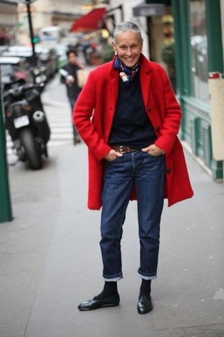 How to wear: red coat, navy crew-neck sweater, navy jeans, black leather tassel loafers