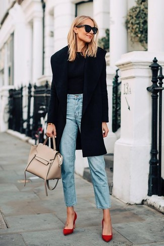 If it's comfort and functionality that you're searching for in an outfit, make a black coat and light blue jeans your outfit choice. Consider red suede pumps as the glue that will bring your outfit together. An ensemble like this is great for transitional weather.