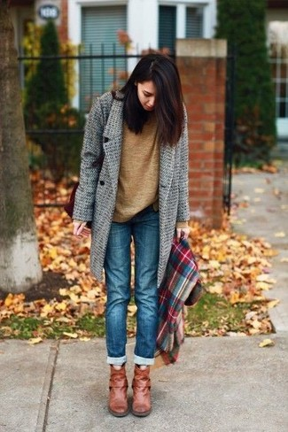 How to wear: grey coat, brown crew-neck sweater, blue jeans, tobacco leather ankle boots
