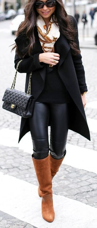 Consider wearing a black coat and black leather leggings for a refined yet off-duty ensemble. And it's a wonder what a pair of Salvatore Ferragamo women's Knee Length Boots can do for the look. With the departure of snow come warmer afternoons and balmy nights and the need for a fresh getup just like this one.