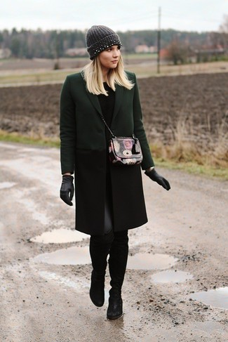A hunter green coat and black leather leggings feel perfectly suited for weekend activities of all kinds. Elevate this ensemble with black suede over the knee boots.