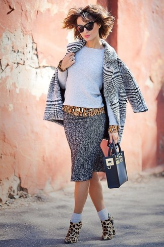 How to wear: grey plaid coat, grey crew-neck sweater, tan leopard long sleeve blouse, grey herringbone pencil skirt