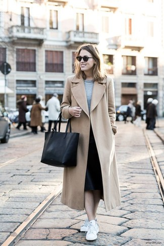 Dress in a camel coat and a Rag & Bone Phoebe Back Zip Midi Skirt for a stylish office ensemble. For footwear go down the casual route with white low top sneakers. Springtime calls for cute looks just like this one.