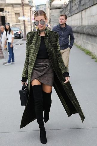 How to wear: olive velvet coat, black crew-neck sweater, charcoal velvet mini skirt, black suede over the knee boots