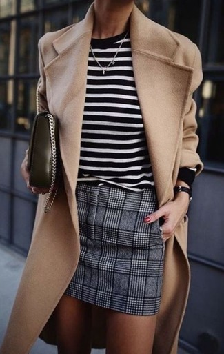 If you want to look cool and remain cosy, wear a Marc Jacobs women's Animal Sequin Striped Sweater Navyoff White and a grey plaid wool mini skirt. This getup is a wonderful option when it comes to an easy-to-transition getup.