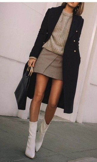 How to wear: black coat, brown crew-neck sweater, brown check mini skirt, white leather ankle boots
