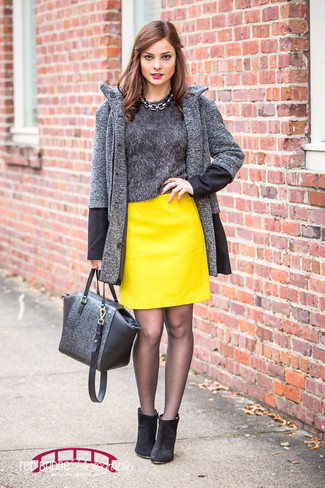 How to wear: charcoal herringbone coat, charcoal fluffy crew-neck sweater, yellow leather mini skirt, black suede ankle boots