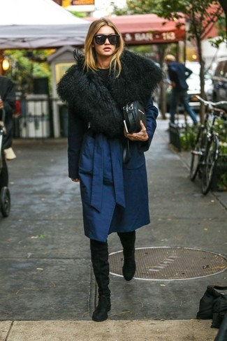 How to wear: navy coat, black crew-neck sweater, black suede over the knee boots, black leather crossbody bag