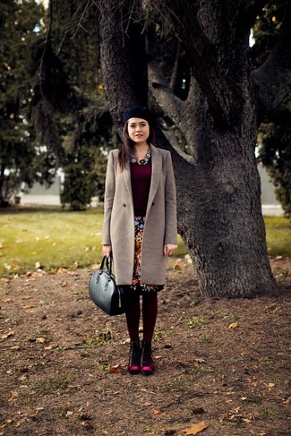 Marry a beige coat with a black floral pencil skirt for a sleek elegant look. Dress down your look with burgundy suede lace-up flat boots.