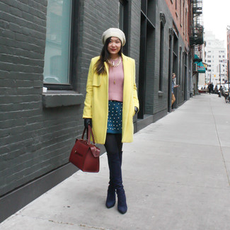 A yellow coat and a teal pleated skirt is a good combination to carry you throughout the day. Take a classic approach with the footwear and choose a pair of navy blue suede over the knee boots.