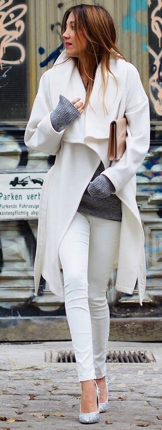How to wear: white coat, grey crew-neck sweater, white skinny jeans, silver sequin pumps