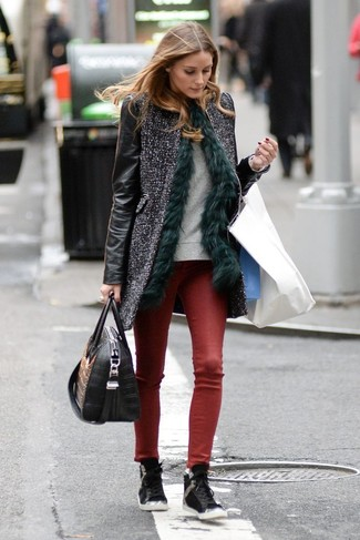 A Valentino women's Scalloped Rockstud Leather Coat Black and burgundy leather skinny jeans will showcase your sartorial self. Take your outfit into a more casual direction with black leather high top sneakers. Seeing as the weather is getting chillier with each day, this look is a great option for the season.