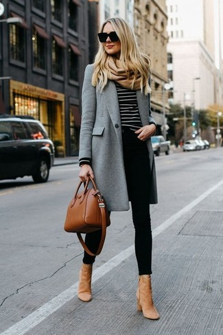 How to wear: grey coat, black and white horizontal striped crew-neck sweater, black skinny jeans, tan suede ankle boots