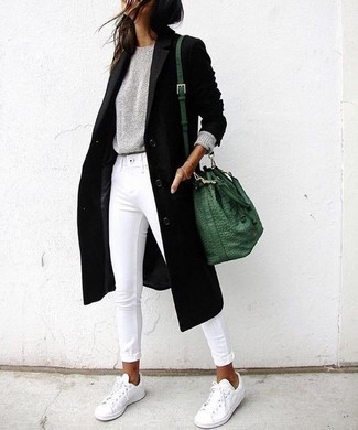 Grey Crew-neck Sweater Outfits For Women: When you need to go about your day with confidence in your ensemble, consider pairing a grey crew-neck sweater with white skinny jeans. You know how to bring a more laid-back twist to this look: white low top sneakers.