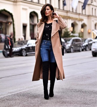 How to wear: camel coat, black embellished crew-neck sweater, blue skinny jeans, black suede over the knee boots