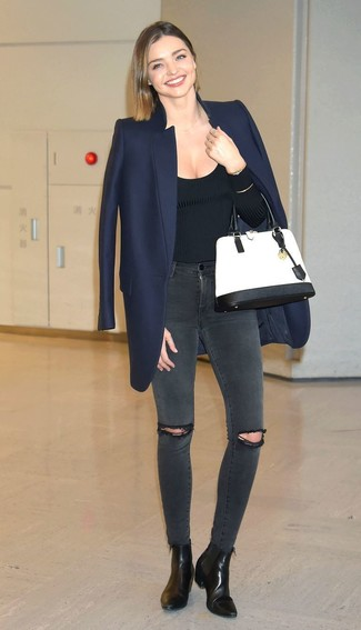 Miranda Kerr wearing Navy Coat, Black Crew-neck Sweater, Charcoal Ripped Skinny Jeans, Black Leather Ankle Boots