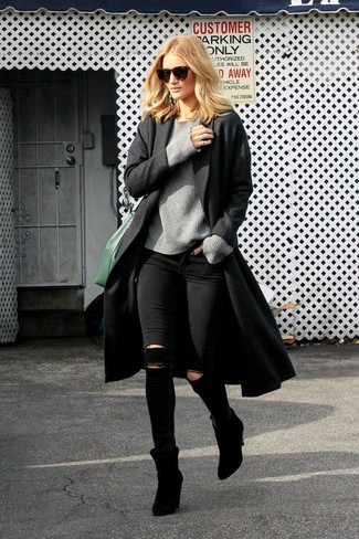 How to wear: black coat, grey crew-neck sweater, black ripped skinny jeans, black suede ankle boots