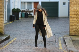 Master the effortlessly chic look in a cream coat and black slim jeans. A pair of black trainers will be a stylish addition to your outfit.
