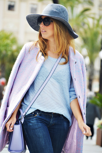 Women's Light Violet Coat, Light Blue Crew-neck Sweater, Navy Skinny Jeans, Light Violet Leather Crossbody Bag